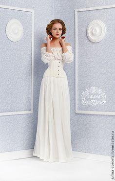 """Платье корсетное """"Нимфа"""" - белый,молочный,кружево шантильи,невеста,свадебное платье"""