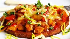 Bruschetta, Vegetable Pizza, Hamburger, Toast, Pork, Food And Drink, Vegetables, Ethnic Recipes, Sweet