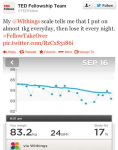 """TED Fellowship Team  (twitter.com/TEDFellow) tweeted: """" My Withings scale tells me that I put on almost 1kg everyday, then lose it every night. #FellowTakeOver pic.twitter.com/RzCxS3186i """" Learn more: http://www.withings.com/en/scales"""