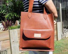 Tan Leather Tote tas markt Shopper van PeregianCoastLeather op Etsy