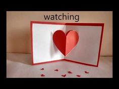 Pop up card (floating heart) - how to make a mini greeting card with a pop out heart - EzyCraft - YouTube