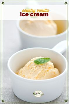 Old Fashioned Country Vanilla Ice Cream is a classic custard homemade ice cream with a rich creamy vanilla taste. how to make ice cream | vanilla ice cream | churned ice cream recipe Sorbet, Gelato, Candy Recipes, Cookie Recipes, Easy Family Meals, Easy Meals, Dessert Ideas, Dessert Recipes, Delicious Recipes