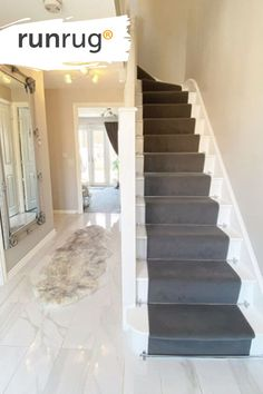 Tiled Hallway, Hallway Flooring, Bedroom Flooring, Staircase Storage, Staircase Design, Grey Wallpaper Living Room, Hallway Inspiration, Hallway Ideas, Open Plan Kitchen Living Room