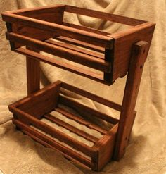 Stained Wooden Basket, Holder, Crate, Handmade, Poplar Wood by TreeLineWoodProducts on Etsy Kitchen Storage Boxes, Fruit Storage, Vegetable Storage, Storage Baskets, Wood Crates, Wooden Boxes, Rustic Furniture, Diy Furniture, Red Mahogany Stain