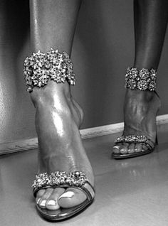 Very sexy heels with tulle dress and blingy jewelry