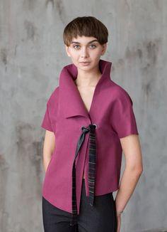 Purple linen blouse / Asymmetrical jacket / by ExlibrisClothing White Fashion, European Fashion, Pop Fashion, Modest Fashion, Vintage Fashion, Womens Fashion, Frock Fashion, Swag Fashion, 2000s Fashion