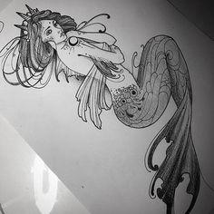 Mermaid Tattoo Designs, Mermaid Drawings, Mermaid Tattoos, Mermaid Art, Skull Rose Tattoos, Body Art Tattoos, Sleeve Tattoos, Cool Tattoos, Flower Tattoos
