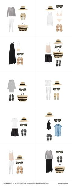 Travel Light - Pack for the Canary Islands. 20 items, 10 outfits, 1 carry-on.