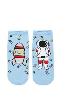 A knit pair of knit ankle socks featuring a split graphic of a rocket and astronaut in space and ribbed trim.