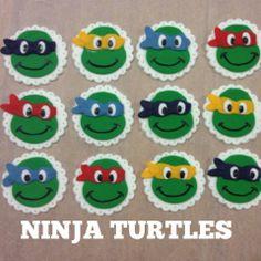 Ninja Turtle Cupcake Cake | Details about 12 EDIBLE CUPCAKE TOPPERS NINJA TURTLES CAKE DECORATIONS ...