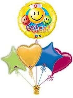 """Get Well Balloons. Cheer someone up when they are poorly with a beautiful get well soon """"Smiley"""" balloon or balloon bouquet. Helium filled get well balloons in a box delivered by post."""