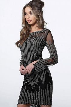 Jovani Short and Cocktail 3964 Black Long Sleeve Embellished Fitted Short Dress 3964 Long Sleeve Homecoming Dresses, Prom Dresses, Dressy Dresses, Short Dresses, Long Sleeve Fitted Dress, Fitted Bodice, Sleeve Dresses, Embellished Shorts, Boat Neck Dress