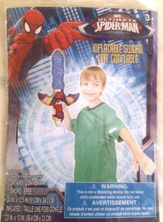Marvel Spider-Man Inflatable Sword with repair kit New in package 3+ Marvel Spider-Man Inflatable Sword with a repair  kit. Ages 3+ New purchased for resale by Keywebco Video inspected during shipping Shipped fast and free from the USA The item for sale is pictured and described on this page. The stock photo may include additional items for display purpose only - which will not be included. Packages may show wear or be opened if the battery is replaced or during the inspection…