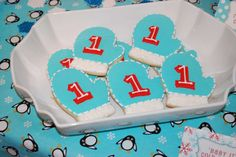 Winter ONEderland - red and aqua color palette with snowflakes, penguins and polar bears Birthday Party Ideas | Photo 1 of 32 | Catch My Party