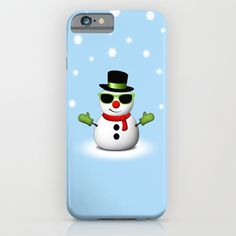 Cool Snowman with Shades and Adorable Smirk with Snowflakes Light Blue iPhone & iPod Case by #PLdesign #snowman #CoolSnowman #WinterGift