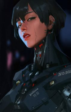 An attempt to draw a cyberpunk style head portrait. Arte Cyberpunk, Cyberpunk Girl, Cyberpunk Aesthetic, Cyberpunk Fashion, Cyberpunk 2077, Cyberpunk Games, Character Portraits, Character Art, Nail Bat