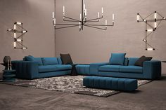 Set the right mood and personality for the heart of your home, and also put your guests at ease by Indian Living Rooms, Living Room Modern, Living Room Interior, Small Living, Living Room Designs, Blue Walls, White Walls, Grey Corner Sofa, White Chest Of Drawers