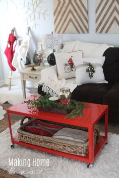 Holiday Home Tour - that red coffee table!
