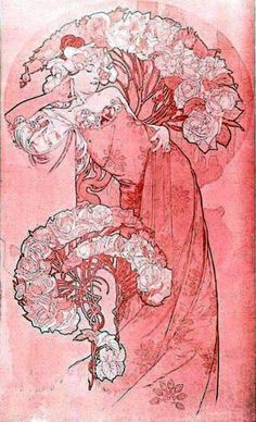 """""""Rose"""" ~ Study for a French perfume brand by Alphonse Mucha"""
