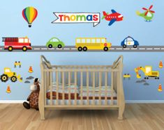 Pour le transfert de chambres Transportation Decals - Construction Wall Decal- Name Wall Decal - Truck Wall Decal Name Wall Decals, Kids Wall Decals, Kids Stickers, Kids Room Wall Art, Nursery Wall Decor, Nursery Themes, Nursery Ideas, Room Decor, Personalized Wall Decals