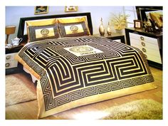 versace Bed | VERSACE BEDDING SET SATIN MEDUSA ( DUVET SET ) BLACK/GOLD