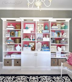 Create a built in bookshelf wall in your living room by mixing and matching together IKEA Billy bookcases and Besta TV unit. See more