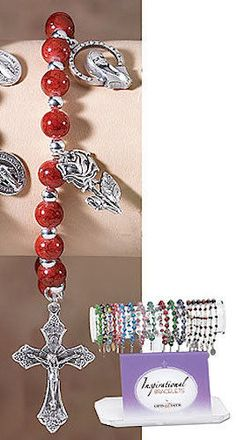 Madonna Rose Cross Marble Charm Rosary Bracelet Catholic Gift  ITALY Stretch Fit