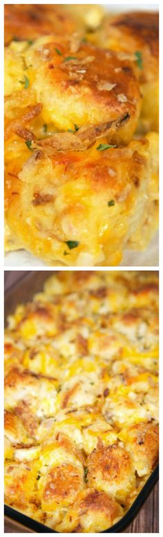 French Onion Chicken Bubble Up ~ AMAZING... Chicken, French Onion Dip, Chicken Soup, Cheddar Cheese and Biscuits. Topped with yummy French Fried Onions. Great weeknight meal. Kids love this!