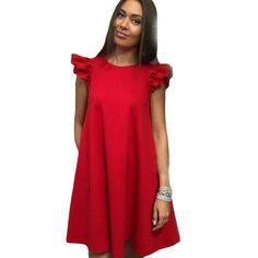 Fashion Women Dresses Beautiful Petal Sleeve Ruffle Dress Casual Summer Dress Vestidos Female Clothes #Affiliate