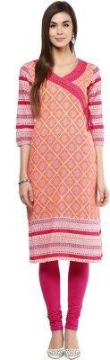 Prakhya Printed Women's Straight Kurta - Buy Orange Prakhya Printed Women's Straight Kurta Online at Best Prices in India | Flipkart.com