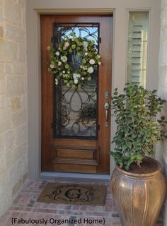 Leaded glass front door.