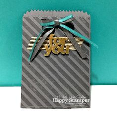 Stampin Friends–Lots of Love Blog Hop | Crafts By Happy Stamper, Stampin Up, Diagonal Stripes, Mini Treat Bag, Masculine