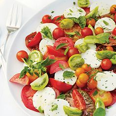 Tomato and Herb Salad with Fresh Chive Cheese - Great Fresh Tomato Recipes - Sunset Mobile Fresh Cheese Recipe, Fresh Tomato Recipes, Cheese Recipes, Homemade Cheese, Basil Recipes, Herb Recipes, Vegetable Recipes, Wine Recipes, Salad Recipes