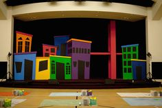 Building a Superhero City Superhero City, Superhero Academy, Vacation Bible School 2017, Super Hero Training, Hero Central Vbs, Superhero Background, Hero Crafts, Dance Themes, Church Stage Design