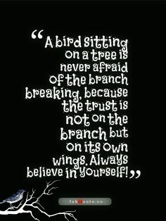 """A bird sitting on a tree is never afraid of the branch breaking because the trust is not on the branch but on its own wings. Always believe in yourself!"" #quotes"