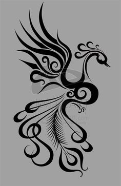 Unique Girly Phoenix Tattoo Stencil By Kaitlin