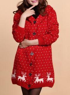 Women's Christmas Fair Isle Print Hooded Knit Coat