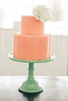 simple peach wedding cake with scalloped edges on the bottom tier.and of course we love the minty cake stand! From Sweet and Saucy Shop Cream Wedding Colors, Peach Mint Wedding, Wedding Coral, Spring Wedding, Coral Cake, Peach Cake, Mint Cake, Green Cake, Turquoise Cake