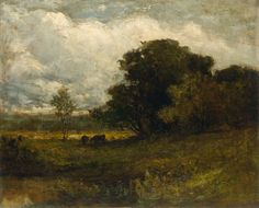 """Untitled (Rhode Island Landscape with Cows), Edward M. Bannister, ca. mid- to late 1880s, oil on linen, 27 x 34"""", private collection."""