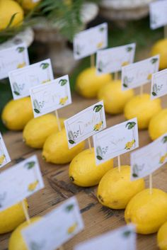 Lemons make brilliant place card holders at this real wedding in Italy. if you're having a real wedding, always embrace the local fruit and flowers when in season as they'll be beautiful. For more of this Italian destination wedding, visit Hitched Wedding Table, Wedding Ceremony, White Bridesmaid Dresses, Sustainable Wedding, Wedding Breakfast, Wedding Places, Italy Wedding, Wedding Trends, Eco Wedding Ideas