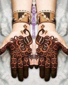 Check beautiful & easy mehndi designs 2020 ideas for mehandi ceremony. Save these latest bridal mehandi designs photos to try on your hands in this wedding season. Henna Hand Designs, Dulhan Mehndi Designs, Mehandi Designs, Mehndi Designs Finger, Mehandi Design For Hand, Peacock Mehndi Designs, Mehndi Designs Feet, Latest Bridal Mehndi Designs, Stylish Mehndi Designs