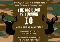 Deer hunting camo party invitation by SweetSarahDesigns on Etsy, $7.00