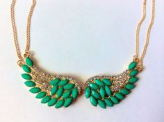 Gold And Turquoise Angle Wing Necklace by LiddoTreasureShop, $7.50