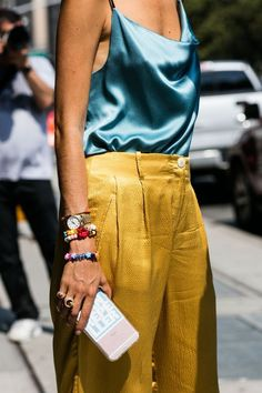 Turquoise Silk tank and gold satin pants
