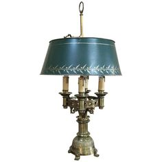 For Sale on - Antique French Art Deco period bronze Bouillote lamp with shade is a master work of craftsmanship speaking to a bygone era when pride of manufacture and French Art Deco, Art Deco Period, Everyday Items, French Antiques, Table Lamps, Bronze, Shades, 1920s, Pride
