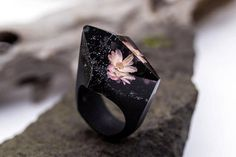 Bloom wooden resin flower ring Eco epoxy jewelry ring Green