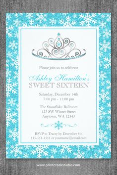Princess winter wonderland sweet 16 invitations. Teal blue faux glitter border with white snowflakes and a silver tiara. Easily personalize for your birthday party.