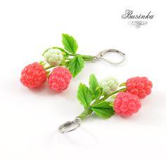 Raspberries Earrings; Razz jewelry; Pink earrings; Pink raspberries; Berry jewelry; Garden earrings; Best girls gift; Spring berry (35.00 USD) by NataliyaBusinka