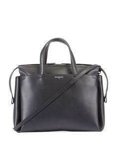 Portfolio Sac Leather Top Handle Bag, Black