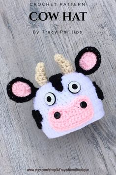 Utterly Adorable Cow Hat Crochet Pattern- by A Frayed Knot Boutique Crochet Cow, Crochet Gifts, Crochet For Kids, Crochet Animal Hats, Crochet Things, Crochet Motif, Crochet Blanket Patterns, Baby Blanket Crochet, Baby Patterns